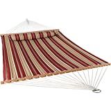 Sunnydaze 2 Person Double Hammock with Spreader Bar, Quilted Fabric Bed - for Outdoor Patio, Porch, and Yard (Red Stripe)