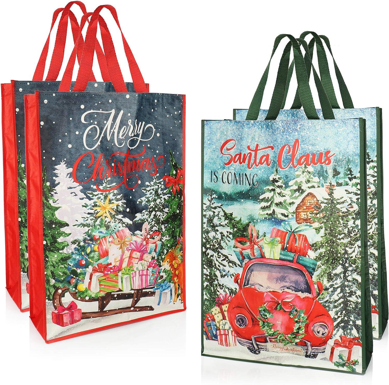 XXL Geschenktasche f/ür Adventskalender Auswahl variiert Weihnachtsgeschenkt/üten in Zwei Designs com-four/® 2X Riesige Geschenkt/üte f/ür Weihnachten