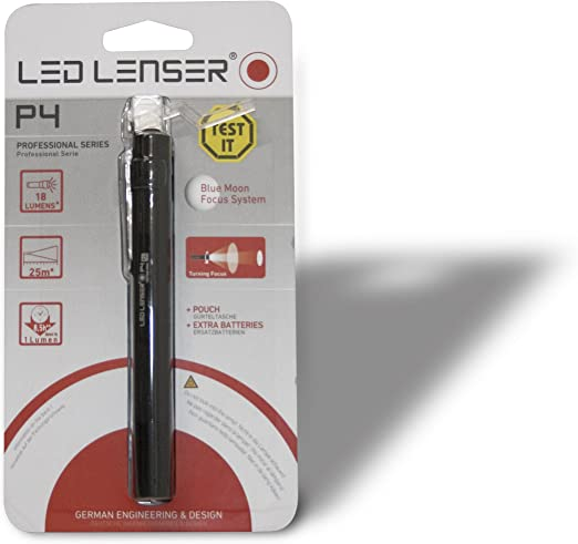 LED Lenser P4-18 Lumens adjustable focus Professional torch with belt pouch