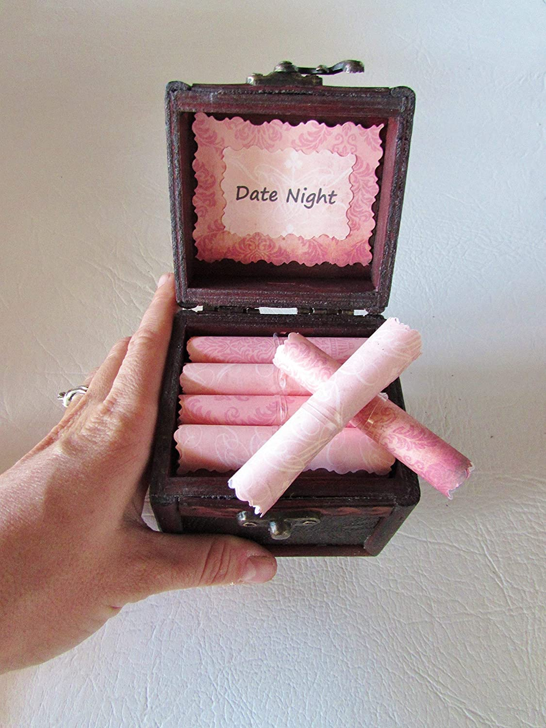 Romantic Gift For HER Date Night Scroll Box Wood Filled With 12 Great Dates Valentine Her Birthday Anniversary
