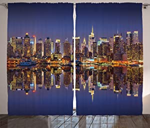 Ambesonne Landscape Curtains, Cityscape Scenery of New York City at Midnight USA Ocean Reflection Coast Photo, Living Room Bedroom Window Drapes 2 Panel Set, 108
