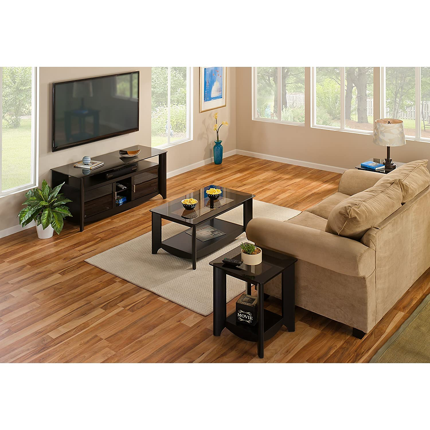 Amazon Aero 56 Inch TV Stand and Coffee Table with End Tables
