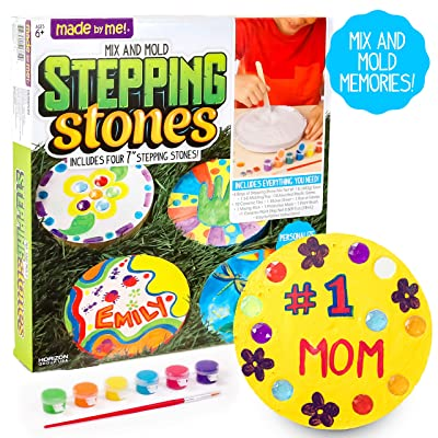Made By Me Mix & Mold Your Own Stepping Stones by Horizon Group USA, Make 4 DIY Personalized Stepping Stones, Molding Tray,Decorative Gemstones,Paint Pots,Paint Brush,Gloves & Sticker Sheet Included: Toys & Games