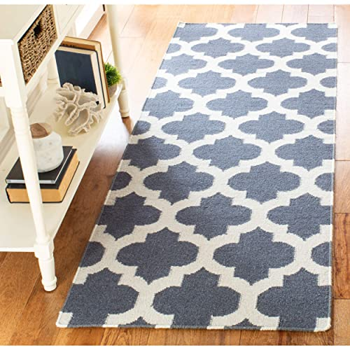 Safavieh Dhurries Collection DHU623B Hand Woven Blue and Ivory Premium Wool Runner 2 6 x 7