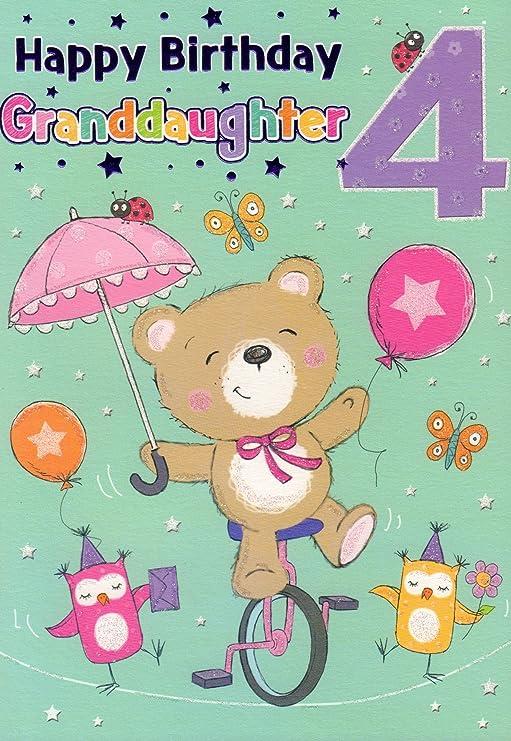 Tarjeta de cumpleaños - Feliz cumpleaños nieta 4: Amazon ...