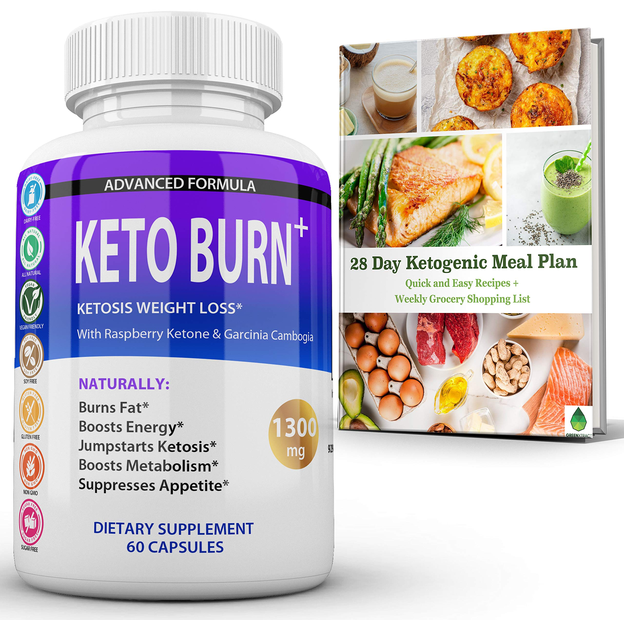Keto Burn Ketosis Weight Loss 1300 MG, All Natural Ketogenic Appetite Suppressant Fat Burner, Boost Energy Focus Metabolism, with Raspberry Ketone Garcinia Cambogia Green Tea and More, Bonus Ebook by GreenXtract