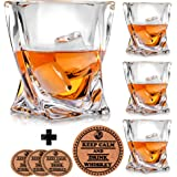 Twist Whiskey Glasses - Set of 4 - by Vaci + 4 Drink Coasters