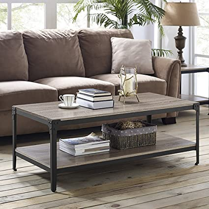 Walker Edison Furniture 48u0026quot; Angle Iron Rustic Wood Coffee Table    Driftwood