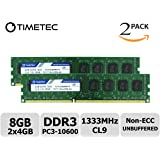 Timetec Hynix IC 8GB (2x4GB) デスクトップPC用メモリ DDR3 1333MHz PC3-10600 240 Pin UDIMM 永久保証 (低密度 8GB (2x4GB))