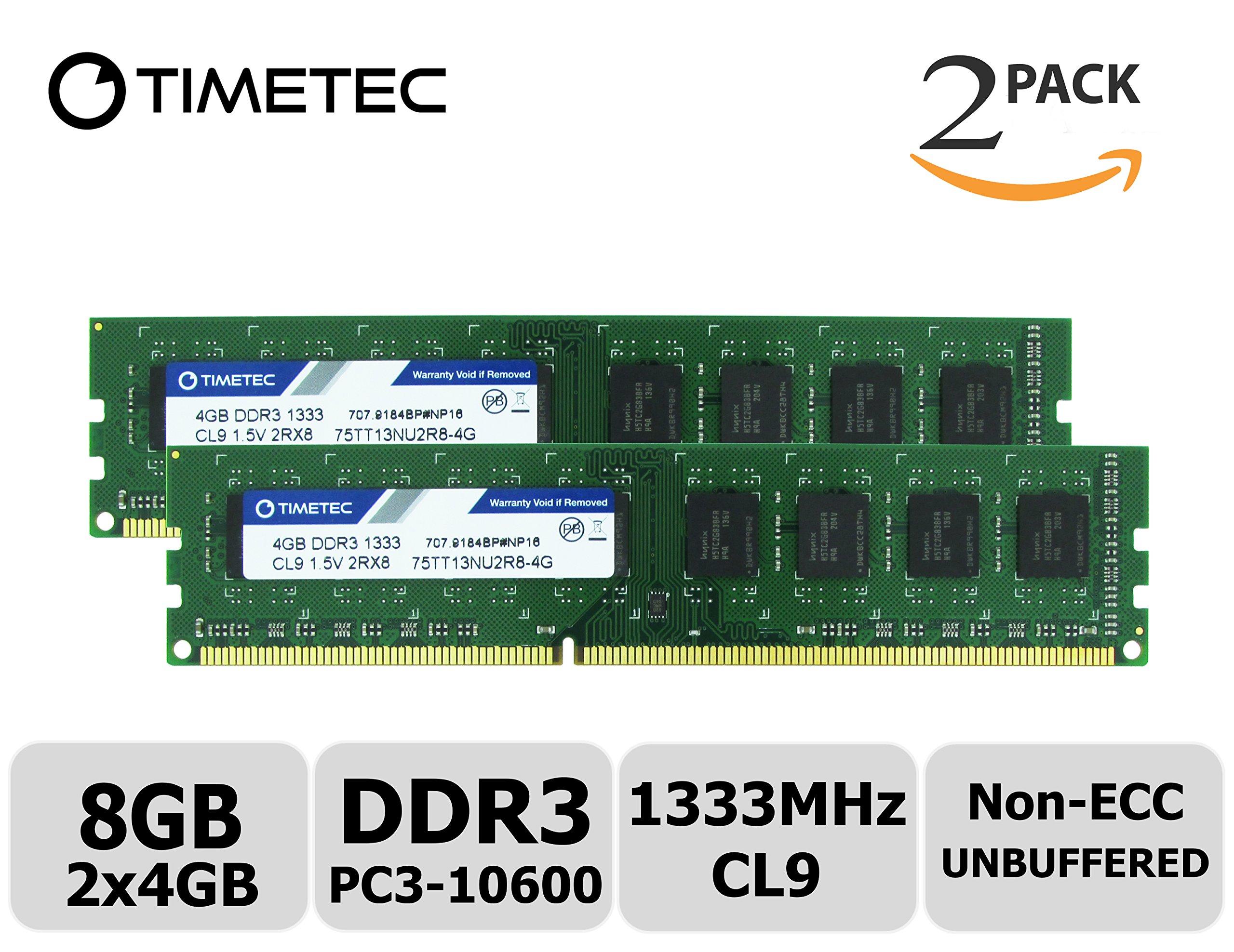 Memoria RAM 8GB Timetec Hynix IC Kit (2x4GB) DDR3 1333MHz PC3-10600 Non ECC Unbuffered 1.5V CL9 Dual Rank para Dell Opti