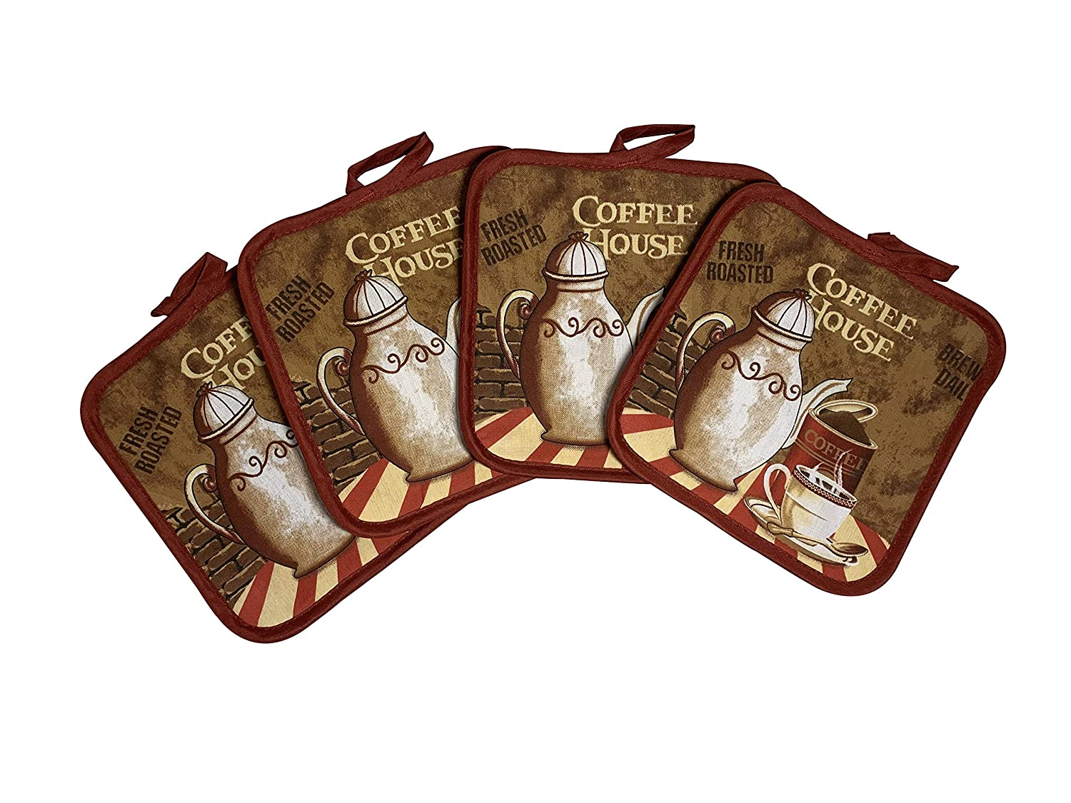 Set of Four Pot Holders for Kitchen Six Different Designs (Coffee)