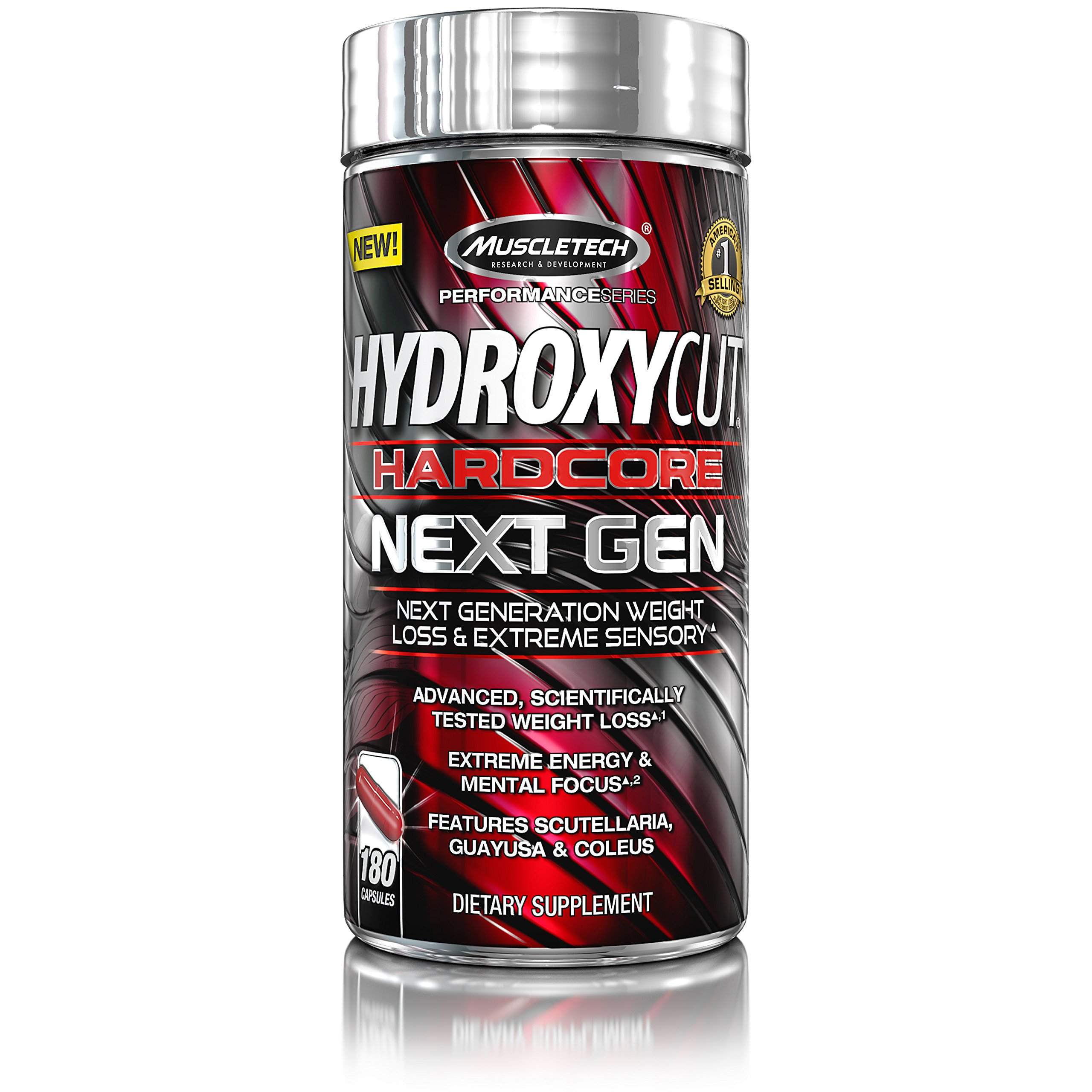 MuscleTech Hydroxycut Hardcore Next Gen, Scientifically Tested Weight Loss and Energy, Weight Loss Supplement, 180 Capsules