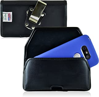 product image for Turtleback Belt Case Made for LG G5 Black Holster Leather Pouch with Heavy Duty Rotating Ratcheting Belt Clip Horizontal Made in USA