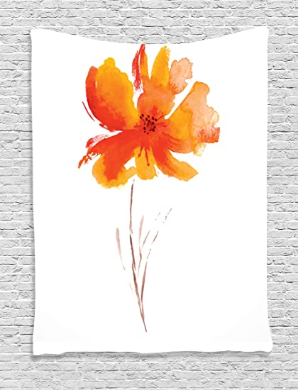 Ambesonne Watercolor Flower Decor Tapestry Single Poppy On Plain Clear Background Nature Inspired Romantic