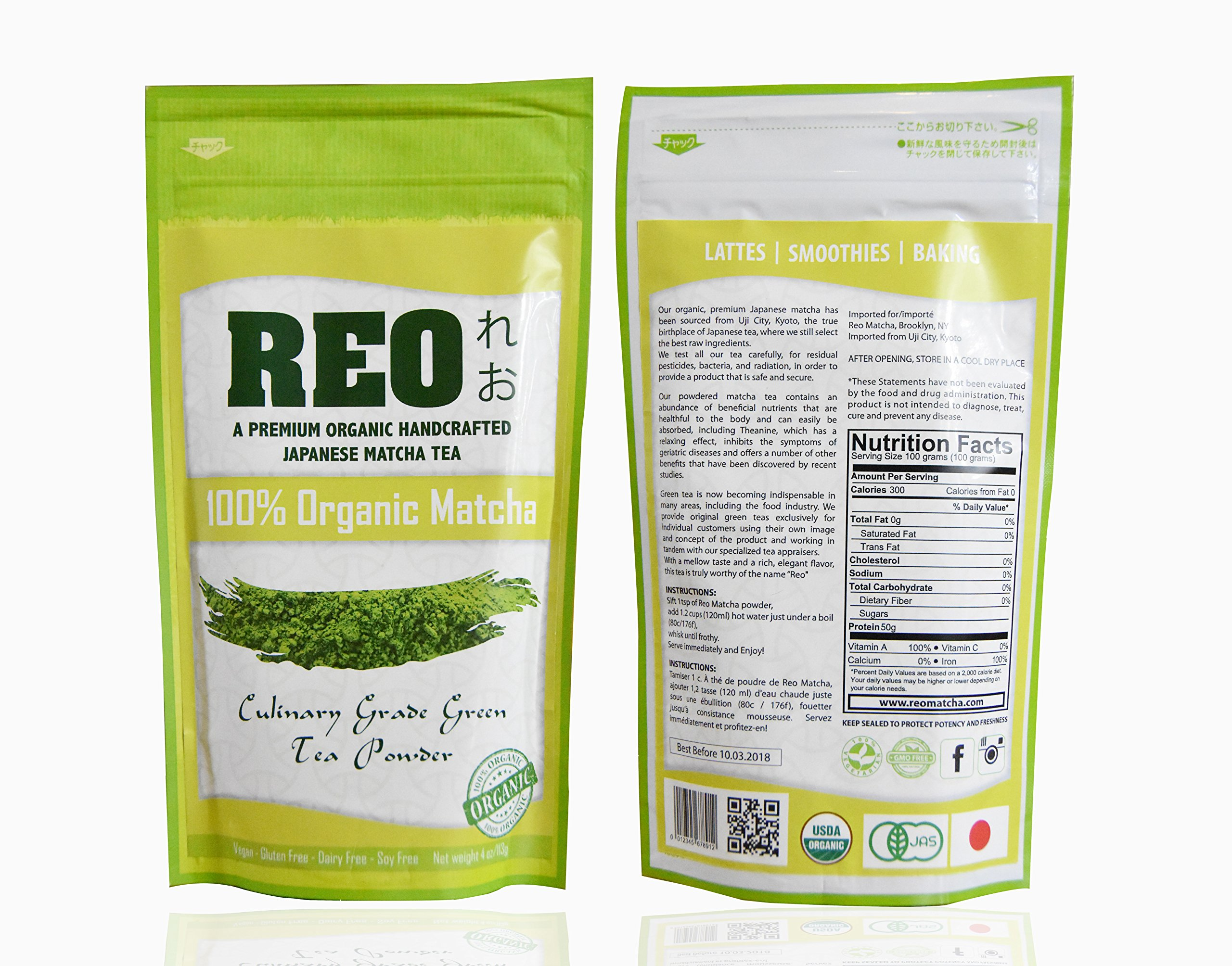 REO - Matcha Green Tea Powder - 100% Organic, USDA, Authentic Japanese Culinary Grade - For Smoothies, Baking - Natural Supplement - Weight Loss, Metabolism Boost, Increase Energy 4oz (113 grams)