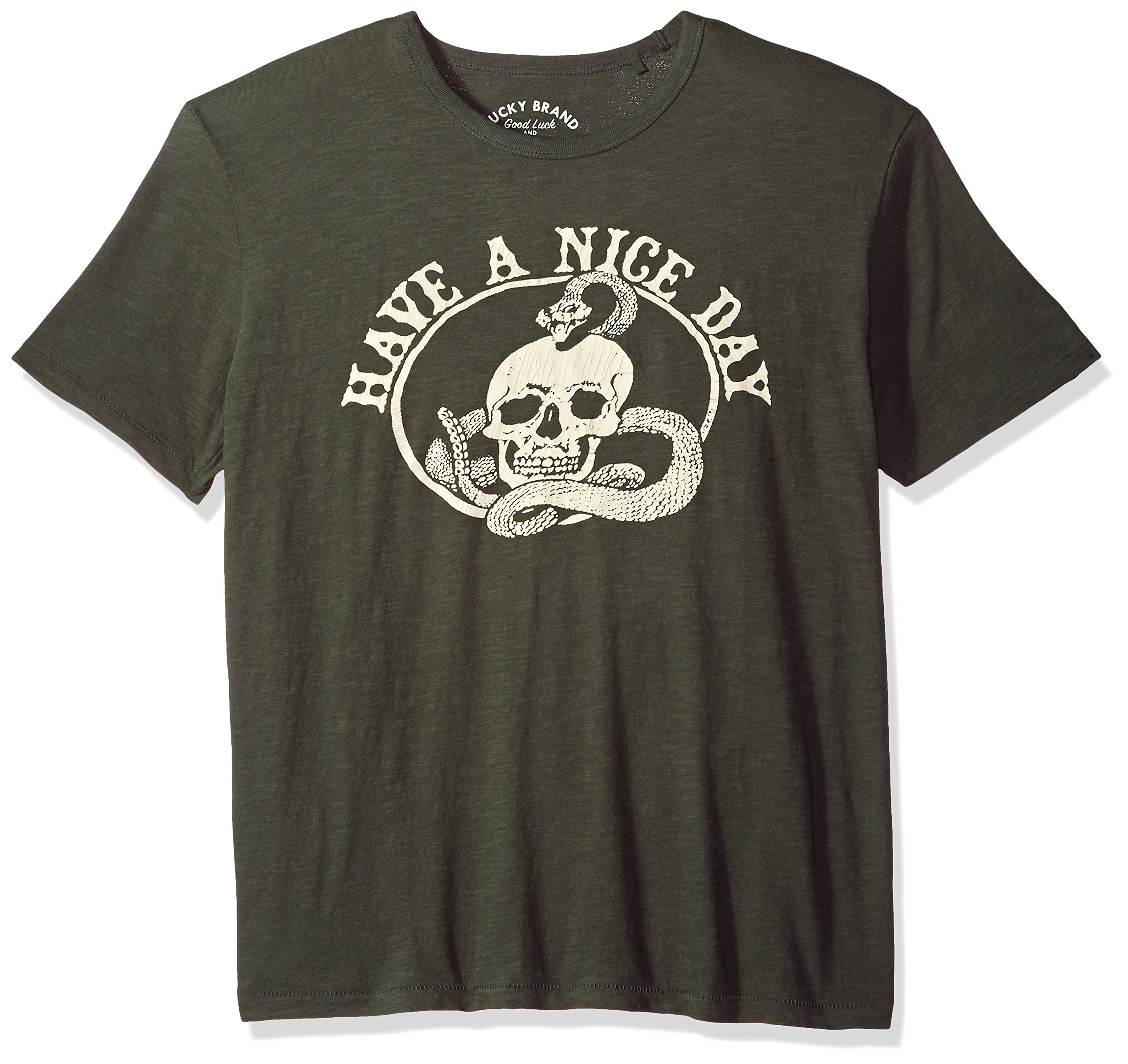 Lucky Brand Men's Nice Day Skull Graphic Tee, Black Mountain, L