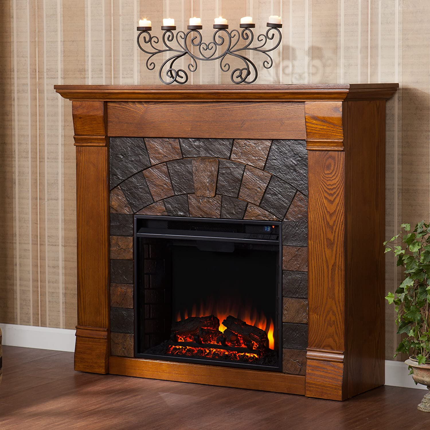 amazon com elkmont electric fireplace salem antique oak
