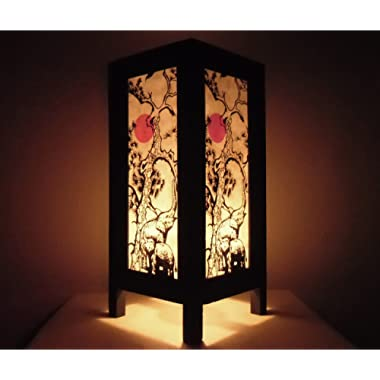 Thai Vintage Handmade ASIAN Oriental elephant and Classic Japanese Sun Style Art Bedside Table Light or Floor Wood Paper Lamp Shades Home Bedroom Decor Modern Design from Thailand