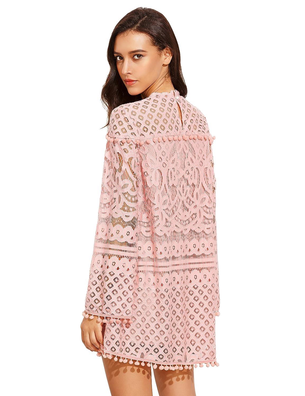 6f7b560296 SheIn Women's Crochet Pom-Pom Sheer Lace Bell Sleeve Dress at Amazon Women's  Clothing store: