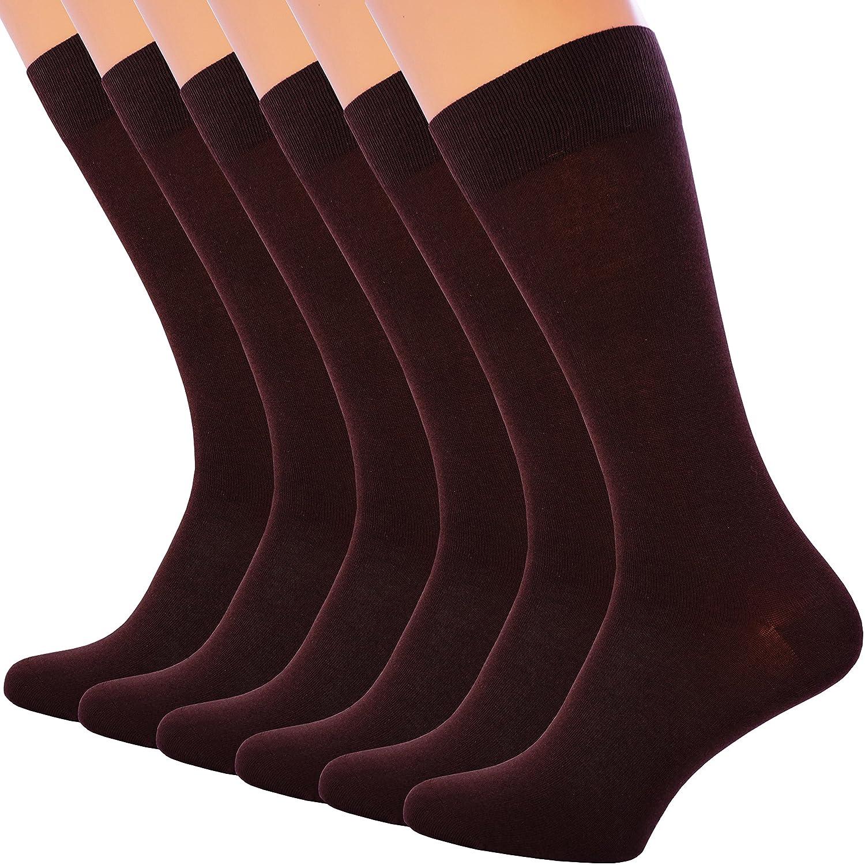 6 Pack Mens Dress Socks Cotton Black Brown Dark Blue Navy