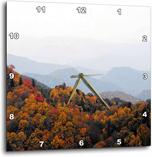 3dRose dpp_22397_1 Fall in The Smokey Mountains North Carolina Mountains Wall Clock, 10 by 10-Inch