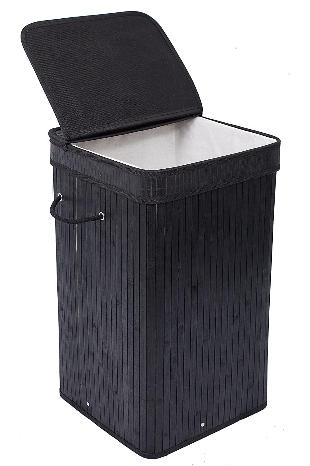 BIRDROCK HOME Square Laundry Hamper with Lid and Cloth Liner | Bamboo | Black | Easily Transport Laundry Basket | Collapsible Hamper | String Handles
