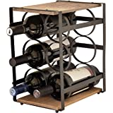 La vie Parisienne – Iron And Wood 6 Bottle Wine Rack – Wine Stand – Wine Bottle Holder – Vintage – Parisian – (Brown)