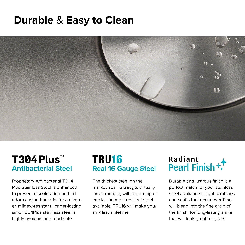 Kraus KD1US17B Dex Undermount T304 Plus TRU16 Gauge Stainless Steel Bar Sink 17 Single Bowl Radiant Pearl Finish