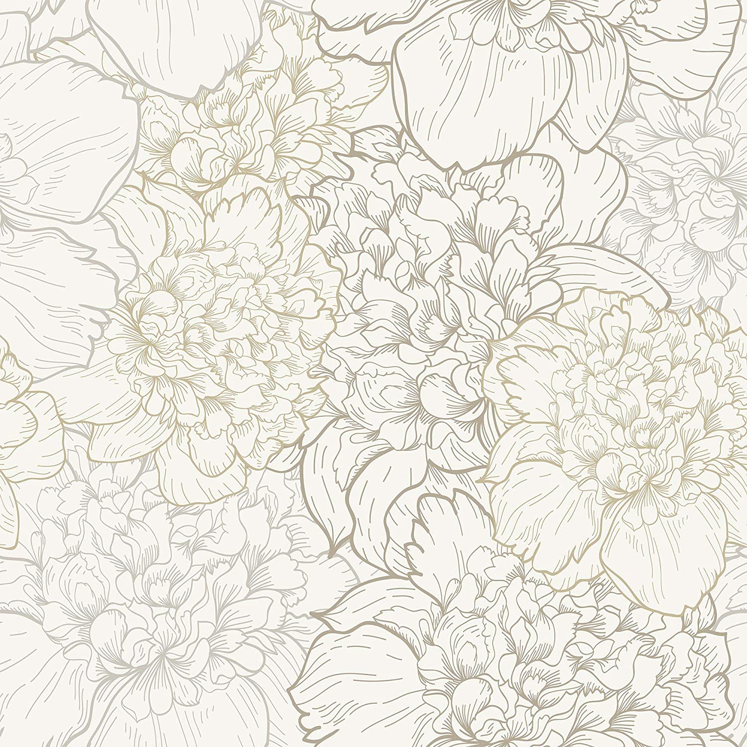 Wallsbyme Peel And Stick White And Beige Floral Fabric Removable