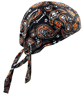 Skull Paisley Orange Cotton Bandana Biker or Hunter Head Wrap DanBanna Deluxe