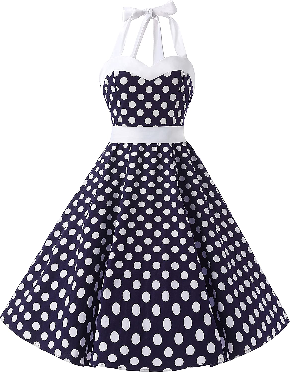 TALLA XL. Dresstells® Halter 50s Rockabilly Polka Dots Audrey Dress Retro Cocktail Dress Royal Blue Flower XL