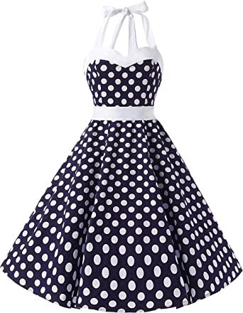TALLA L. DRESSTELLS® Halter 50s Rockabilly Polka Dots Audrey Dress Retro Cocktail Dress Blue White Dot