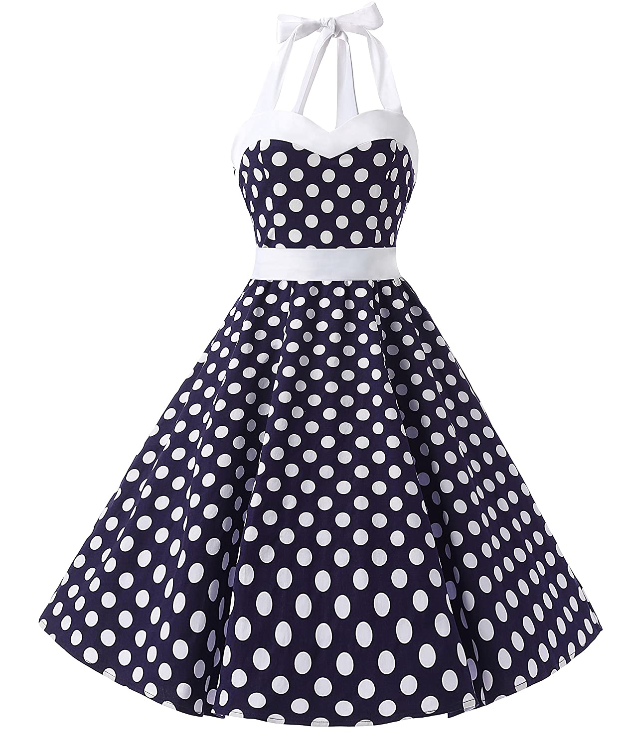 TALLA L. Dresstells® Halter 50s Rockabilly Polka Dots Audrey Dress Retro Cocktail Dress Royal Blue Flower L