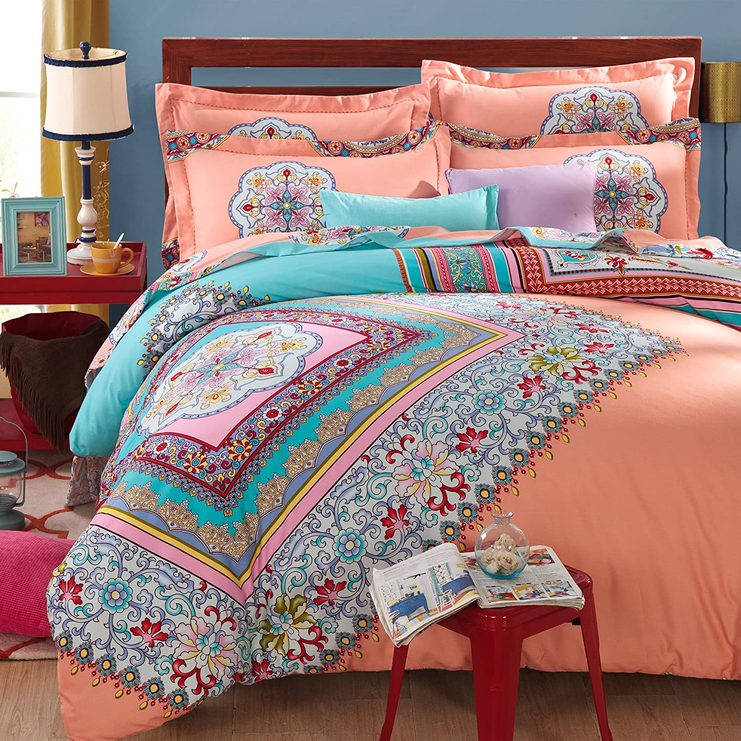 FADFAY 4-Piece Bohemian Bedding Boho Bedding Set Full Queen Size