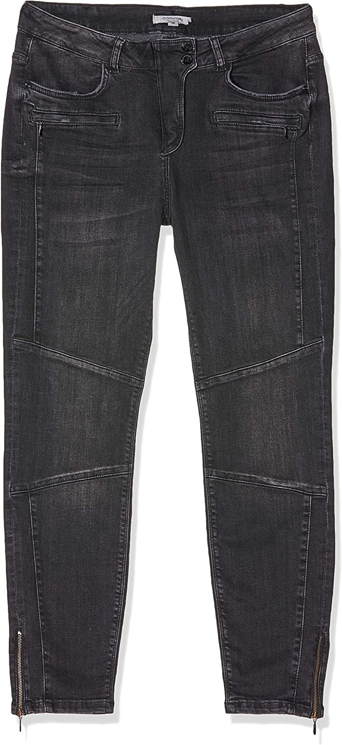 Comma CI Damen Slim Jeans Grau (Grey/Black Denim Stretch 98z7)