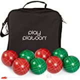 Play Platoon Bocce Ball Set with 8 Premium Bocce Balls, Pallino, Carry Bag & Measuring Rope