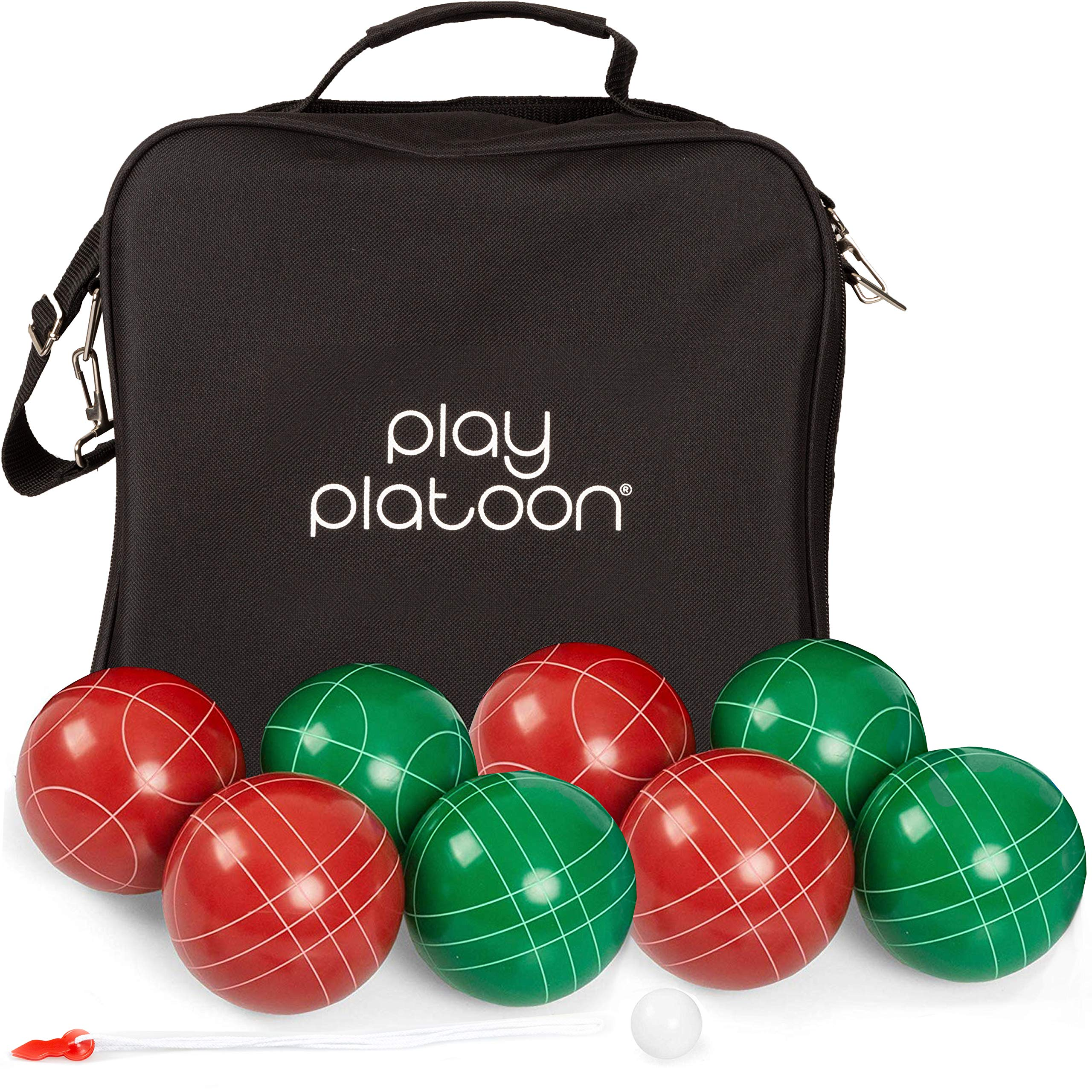 Bocce Ball Set Regulation Size with 8 Premium Resin Bocce Balls, Pallino, Carry Bag & Measuring Rope by Play Platoon