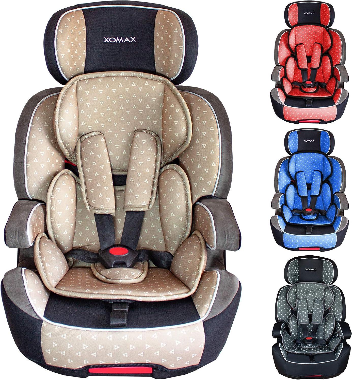 XOMAX XL-518 Silla de coche con ISOFIX I creciendo con usted I 9-36 kg, 1-12 años, grupo 1/2/3 I Arnés de 5 puntos y arnés de 3 puntos I Funda desmontable y lavable I ECE R44/04 I beige