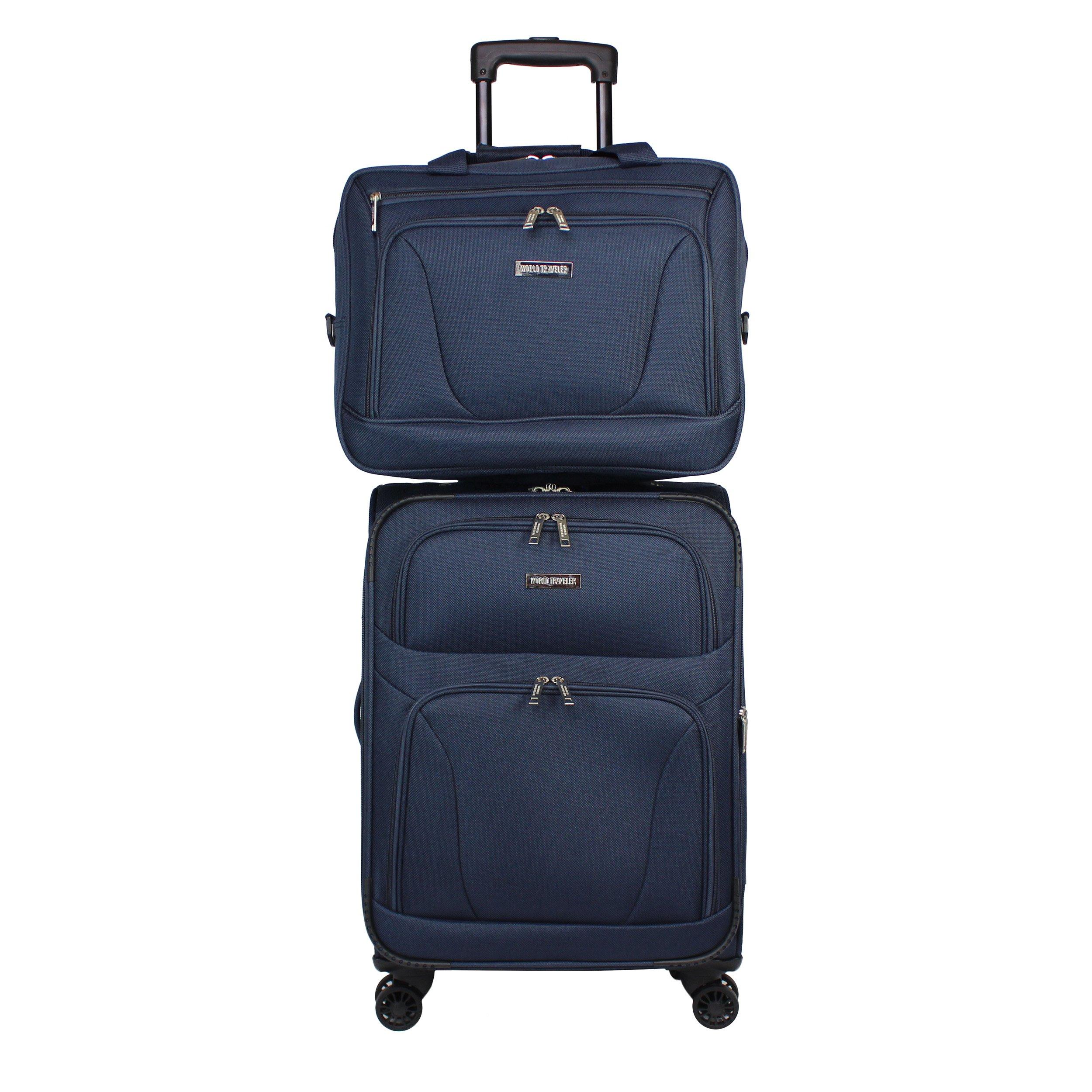 World Traveler Embarque Lightweight 2-Piece Carry-on Spinner Luggage Set - Navy