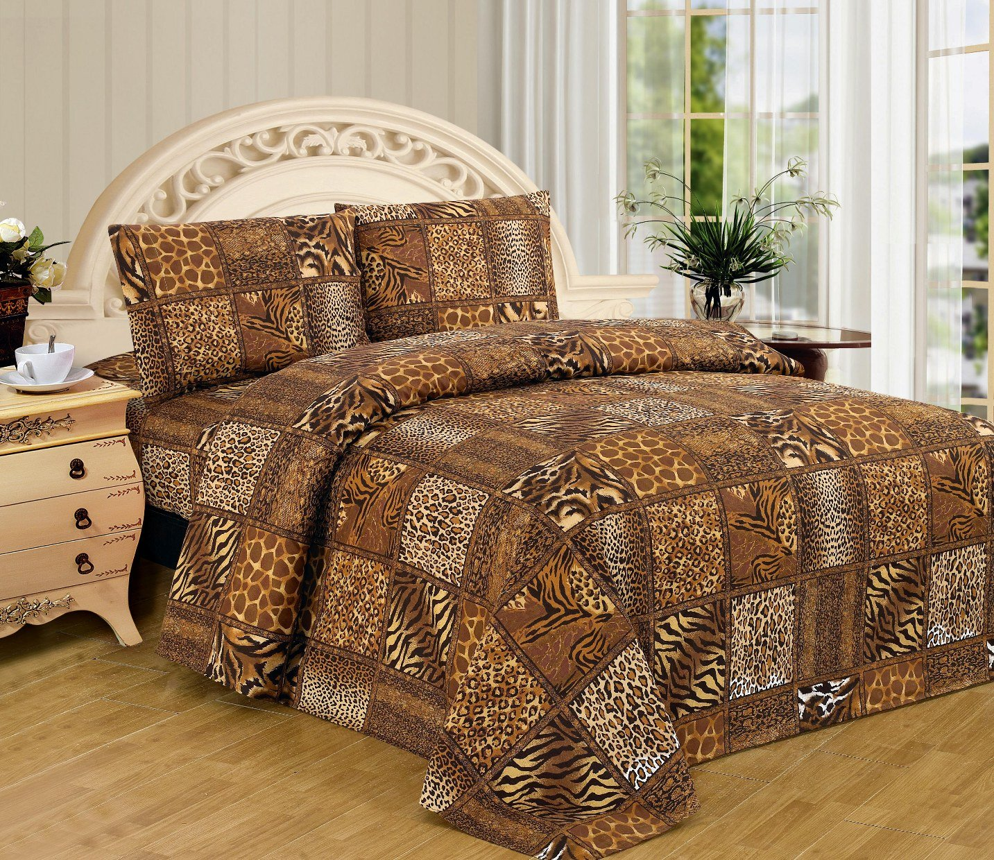 Brown Black Leopard Zebra Queen Size Sheet Set 4 Pc Safari Animal Print Pillow Shams Bedding