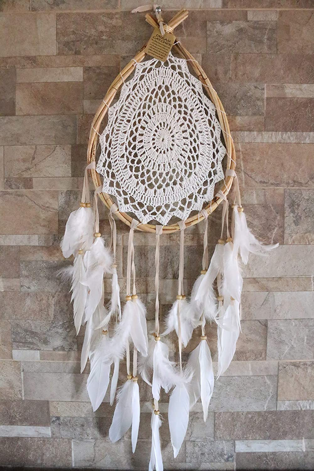 Dream Catcher for Bedroom Decoration Boho Style Dreamcatcher Hand Crafted Bohemian Decor Item Teardrop Shape Weddings Crochet Hippie Gypsy Style Wall Hanging Hand Made Ornament 9.5