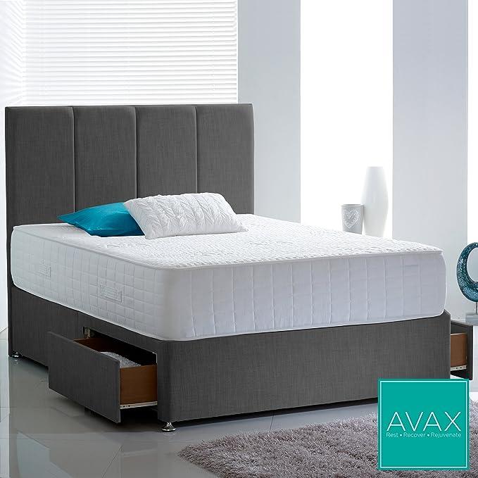 AVAX Lujo de Espuma con Efecto Memoria 1500 colchón de encapsulado con Superficie de Alta Spec Dormir de bambú de Punto y 100% Egipcio algodón Acolchado ...