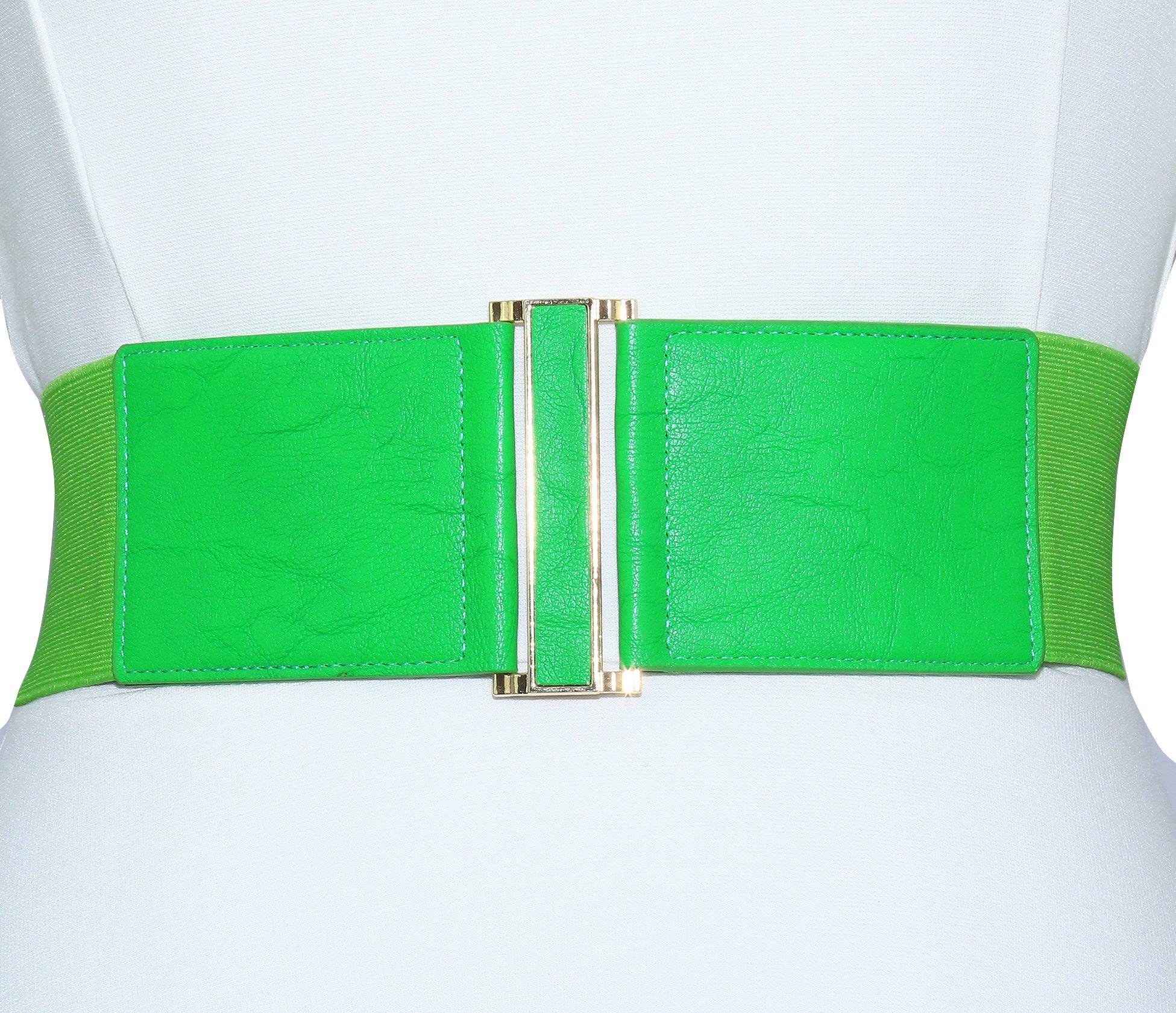 Modeway Women's Leather 3''wide Elastic Stretch Cinch Waist Belt, Metal Buckle Fashion Waistband (Medium(30-33inch), Light green)