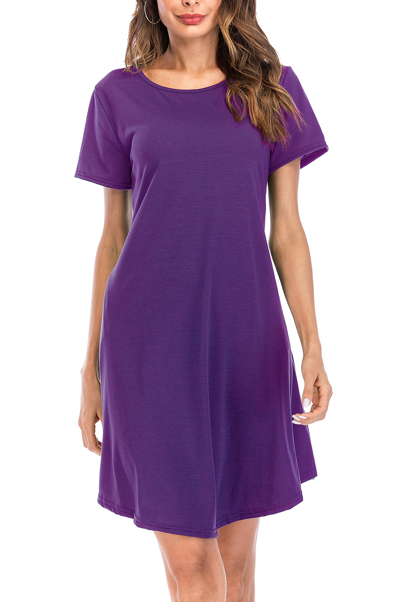 MIDOSOO Women Short Sleeve A-Line Fit & Flare Midi Long Dress with Pockets Purple 2XL