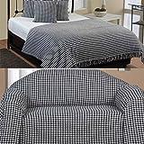 Homescapes Handgewobene Tagesdecke schwarz weiß Hahnentrittmuster 225 x 255 cm Plaid 100% reine Baumwolle Bettüberwurf mit Fransen