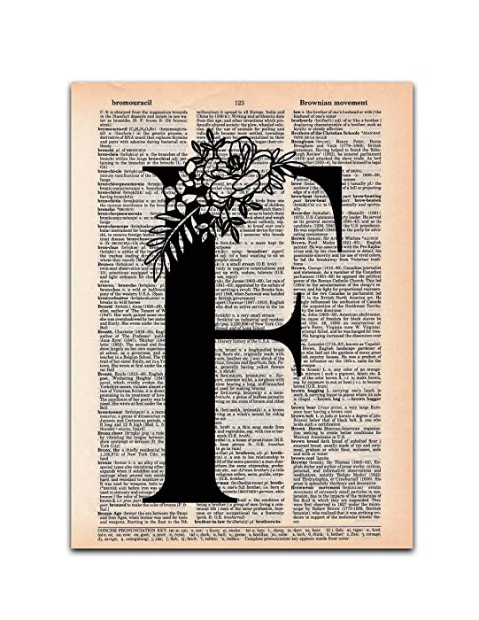 F - Monogram Wall Decor, Letter Wall Art, Dictionary Page Art Print, 8x11 UNFRAMED