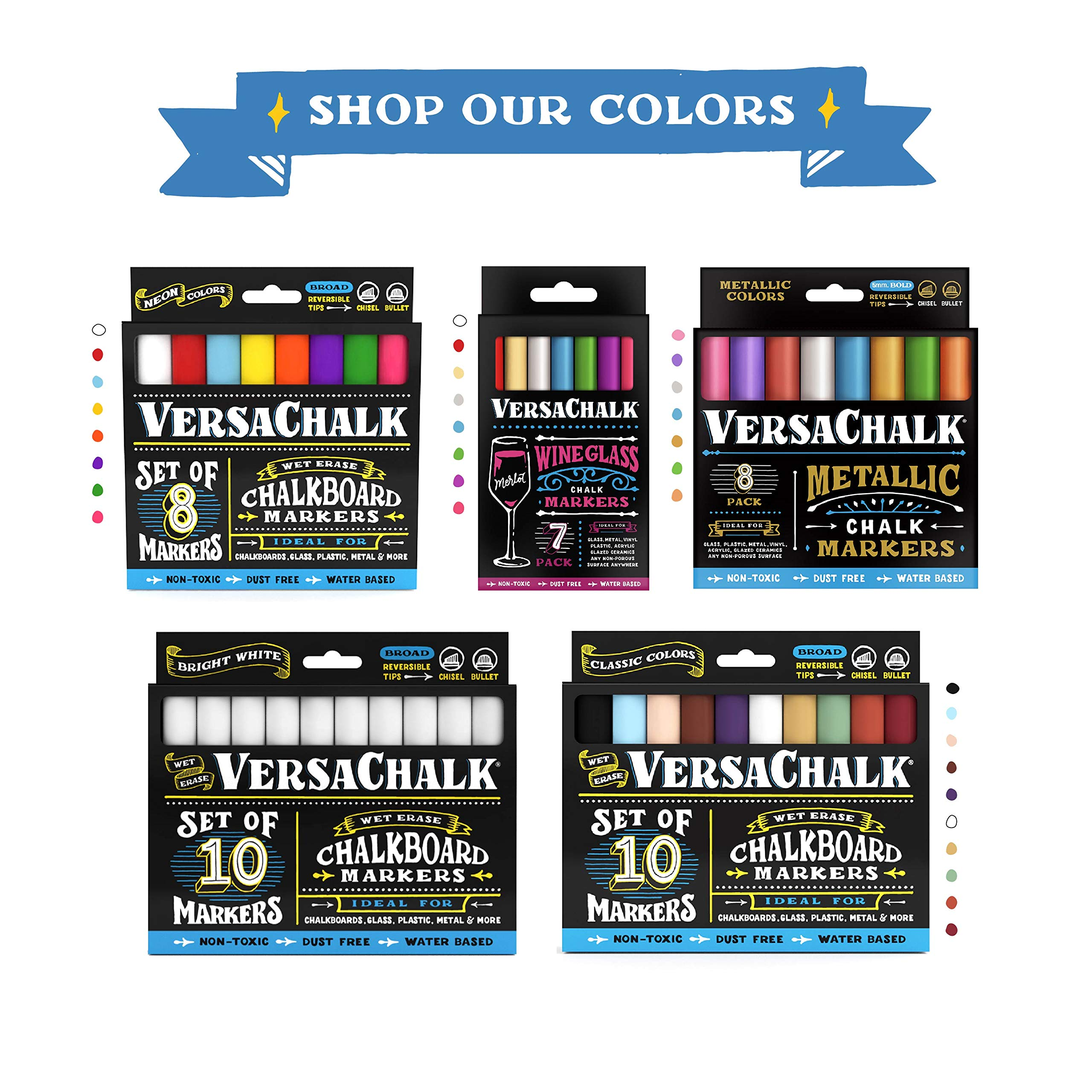 Classic Liquid Chalk Ink Chalkboard Markers by VersaChalk - Wet Erase Chalk Pens for Chalkboard Sign, Blackboard, Dry Erase Board (5mm Bold Reversible Tip) by VersaChalk (Image #8)