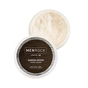 Men Rock Sandalwood Shaving Cream - Non Aerosol Shaving Cream with Coconut Oil, Premium Shaving, Moisturizing Shaving Cream for Men, Scented Shaving Cream - Travel Shave Cream, 3.4 Oz.