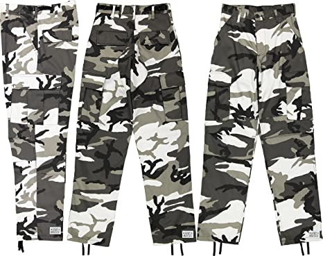 Army Universe Mens Urban City Camo Black   White Camo Metro Urban Cargo  Pants Military BDU Fatigues with Pin c6f9f2be5e8