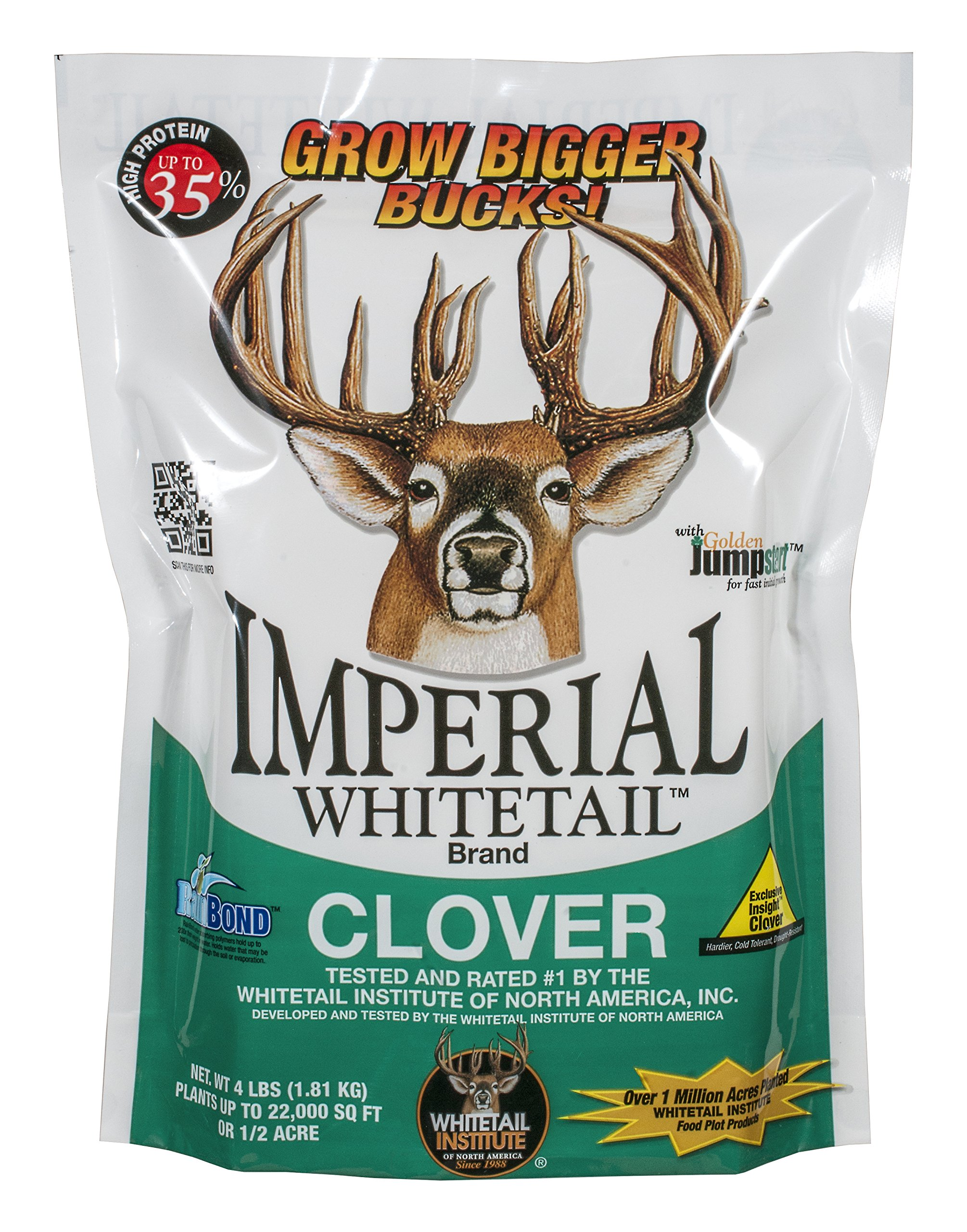 Whitetail Institute Imperial Clover Food Plot Seed (Spring and Fall Planting), 4-Pound (1/2 Acre) by Whitetail Institute
